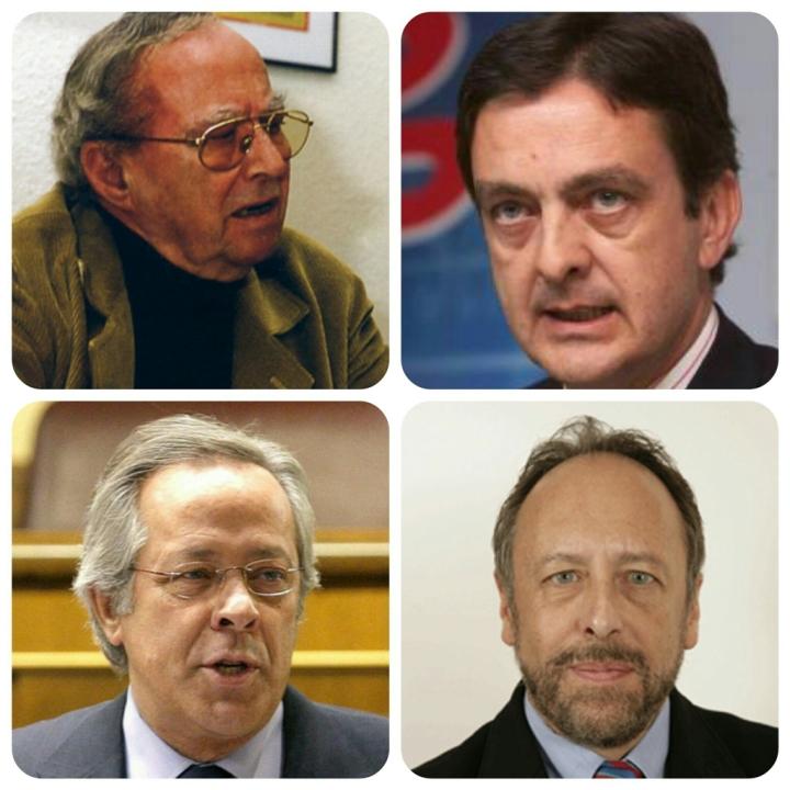De izq. a dcha. y de arriba a abajo: Leopoldo Torres (PSOE), Enrique Fernández-Miranda (PP), Ramón Aguirre (PP) y Luis Fraga (PP), todos parlamentarios cuneros por Guadalajara.