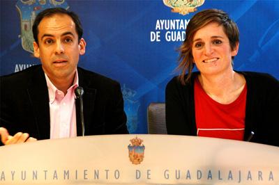 PSOE y Ahora Guadalajara durante la rueda de prensa ofrecida ayer