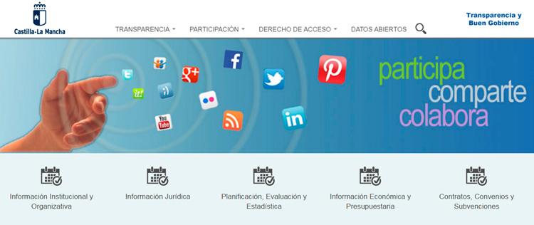 Pantallazo de la web del Portal de Transparencia de la Castilla La Mancha