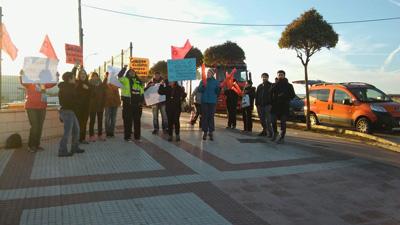 Manifestación de los trabajadores de Optimal Care en Yunquera
