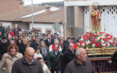 Procesión de San Blas por las calles de Cabanillas