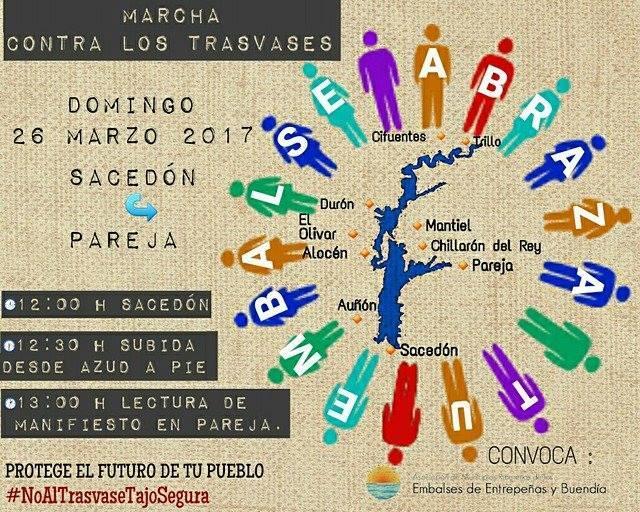 Cartel de la marcha convocada por los municipios ribereños este domingo entre Sacedón y Pareja.
