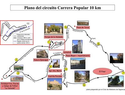Plano con el recorrido de la carrera popular de 10km