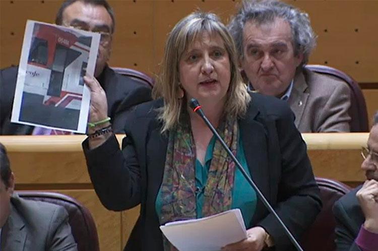 La senadora socialista Riansares Serrano en su interpelación al ministro de Fomento. Íñigo de la Serna