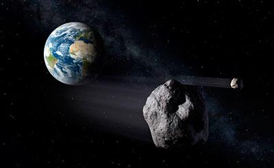 Recreación del paso de un asterioide cerca de la Tierra