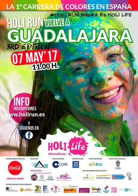 Cartel de la convocatoria del Holi Run en su tercera edición en Guadalajara