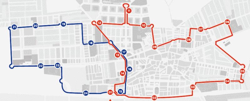 Plano del recorrido de las dos lineas de autobueses