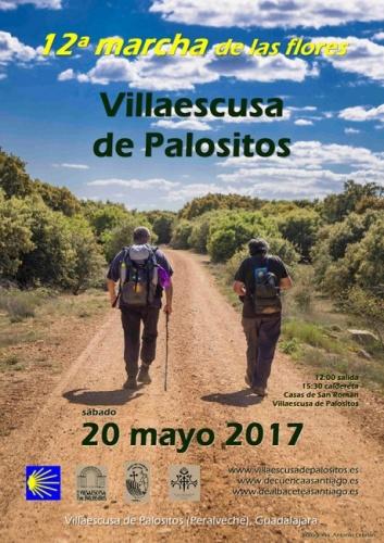 Cartel de la convocatoria de este año a la Marcha de las Flores en Villaescusa de Palositos