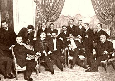 Buenos Aires 1906. Visita de Jacinto Benavente con intervención de López de Gomara (primero por la izquierda)
