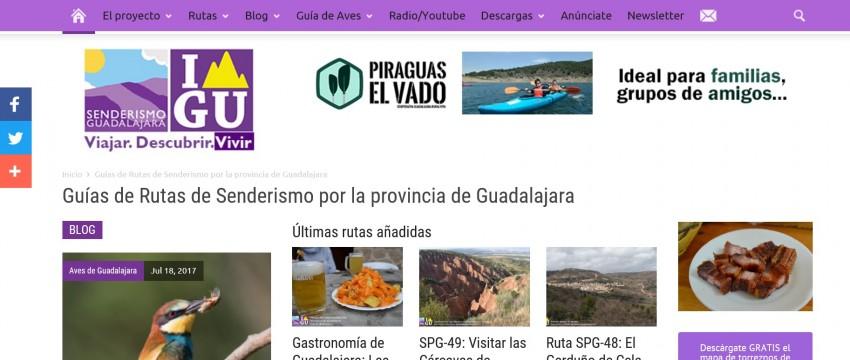 La 'home' de la página web www.senderismoguadalajara.es, en la que Víctor J. Pascual vuelca contenidos vinculados a la divulgación de los encantos turísticos de Guadalajara.