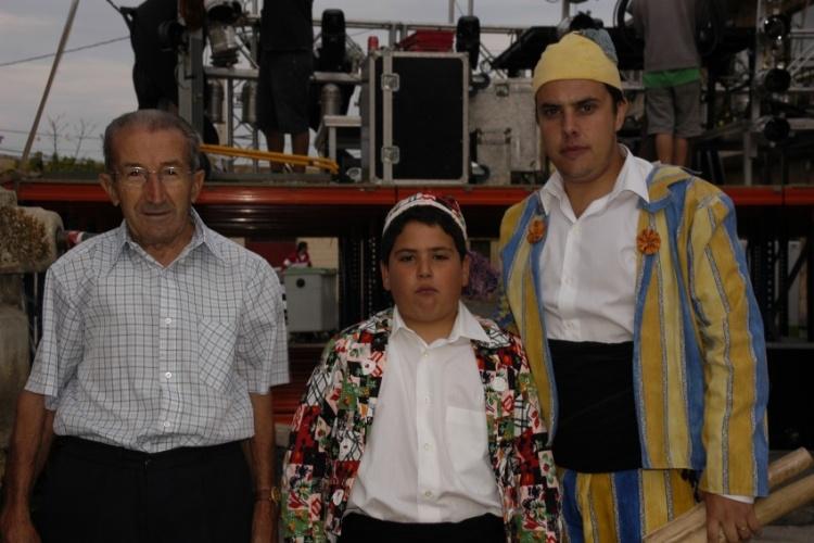 Tres generaciones de Zarragón en Galve: Celedonio Sierra, Jorge Martín y Óscar Esteban.