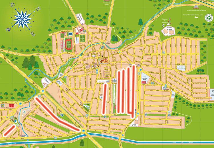 Plano de situación las siete calles que se verán afectadas por esta nueva medida