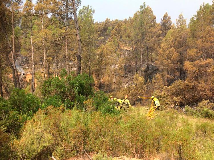 Labores de extinción en el incendio de Yeste