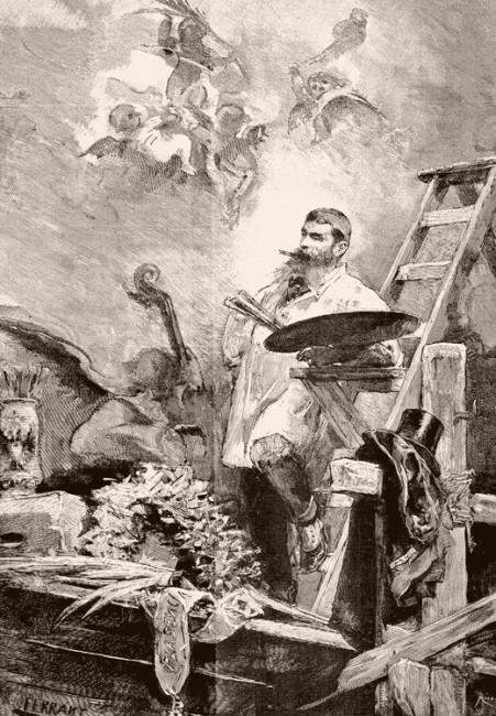 Casto Plasencia pintando la Capilla de Carlos III en San Francisco el Grande, por Alejandro Ferrant