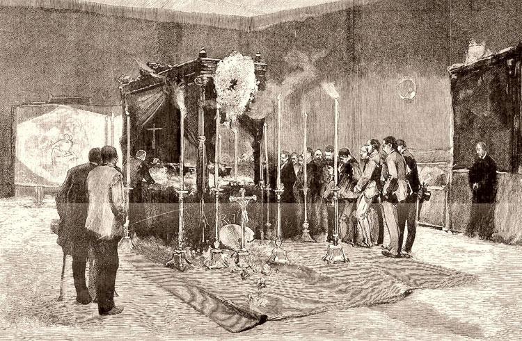 Capilla ardiente de Casto Plasencia en su estudio. Apunte de Joaquín Sorolla
