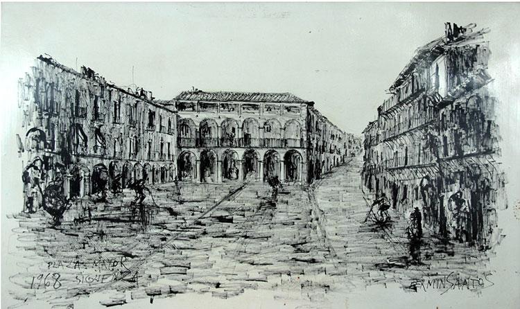 Uno de los cuadros de Fermín Santos dedicado a Sigüenza