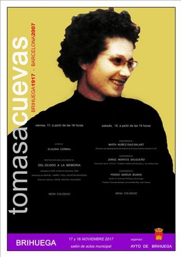 Cartel de las jornadas dedicadas a Tomasa Cuevas