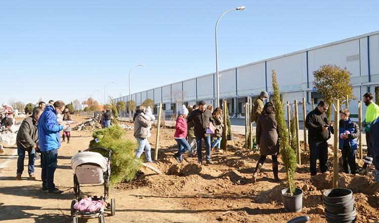 Primera de las plantaciones de esta temporada, celebrada el 3 de diciembre, en la avenida de la Industria. Foto: Álvaro Díaz Villamil/ Ayuntamiento de Azuqueca de Henares