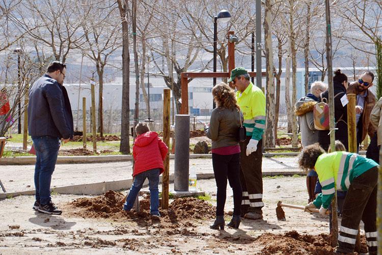 Imagen de la plantación realizada el 18 de marzo en el parque de La Quebradilla. Fotografía: Álvaro Díaz Villamil/ Ayuntamiento de Azuqueca de Henares