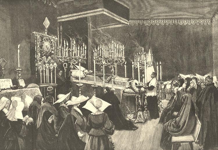 Capilla ardiente de Martínez Izquierdo, en el palacio Episcopal