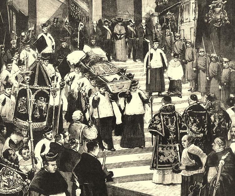 Traslado del cuerpo de Martínez Izquierdo desde el palacio Episcopal a la Catedral madrileña
