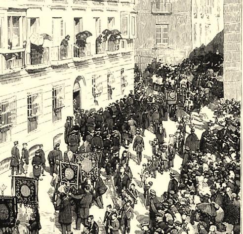 Procesión fúnebre del traslado de los restos del Obispo, del Palacio a la Catedral