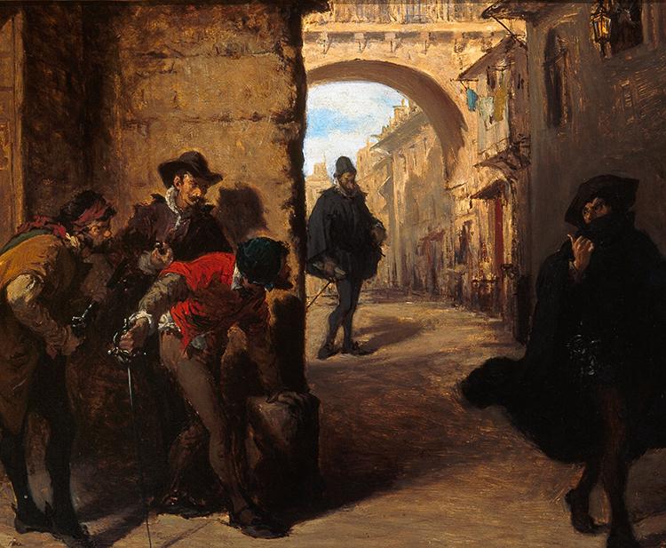 El asesinato de Juan de Escobedo fue el principio del fin de Antonio Pérez y de Ana de Mendoza (óleo de Lorenzo Vallés)