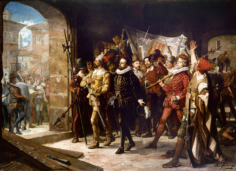 Antonio Pérez liberado por los aragoneses (óleo de Manuel Ferrán)
