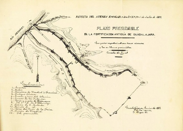 Plano de las antiguas fortificaciones de la ciudad de Guadalajara