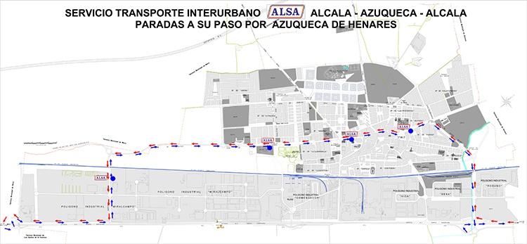 Plano con el recorrido y las paradas de la línea Alcalá-Azuqueca-Alcalá