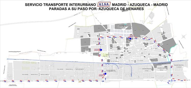 Plano con el recorrido y las paradas de la línea Madrid-Azuqueca-Madrid