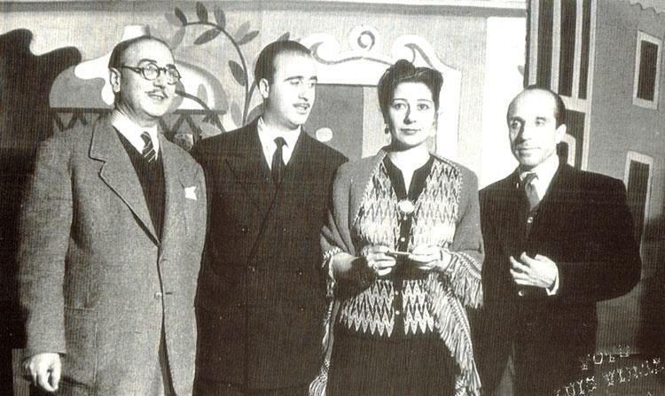 Los maestros Valerio, Solano y Ochaíta, con Concha Piquer en uno de sus espectáculos musicales.