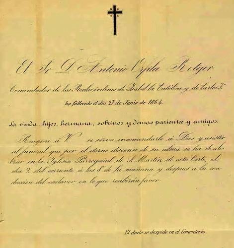 Antonio Orfila murió en Madrid el 27 de junio de 1864