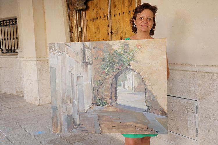 Cristina Pollesel gandora del IX Certamen de Pintura Rápida Villa de Almonacid de Zorita