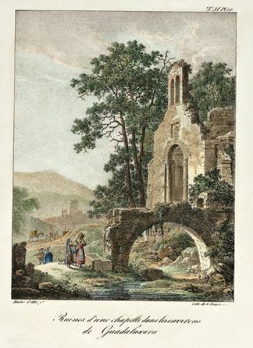 """Ermita de Nuestra Señora de Afuera (desaparecida), dibujo del oficial francés Bacler d'Albe, publicado en París en 1822 en el libro """"Campagne d'Espagne"""""""