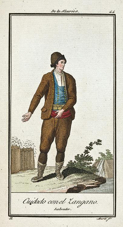 """Cuidado con el zángano, dibujo de Antonio Rodríguez, publicado en Madrid en 1801 en el libro """"Colección de los trajes que en la actualidad se usan en España"""""""