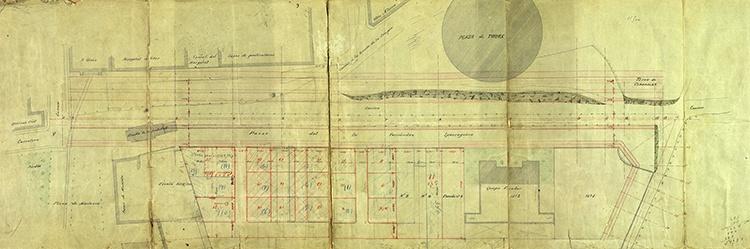 Uno de las primeros planos con el planeamiento del paseo Dr. Fernández Iparraguirre, en el que se aprecia la ermita de la Soledad. (Archivo Municipal de Guadalajara)