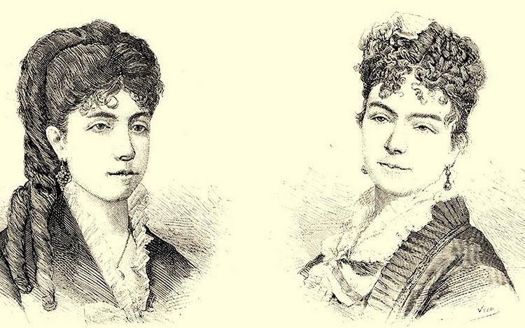 Asunción Vela y Clementina Albéniz (hermana del compositor), que fueron compañeras de estudio y mantuvieron una gran amistad