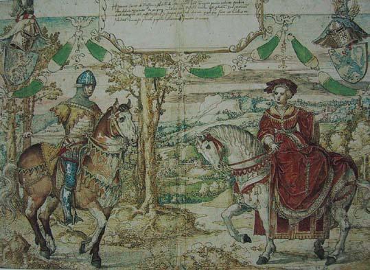Enrique de Nassau y Mencía de Mendoza, en uno de los muchos tapices que coleccionaron
