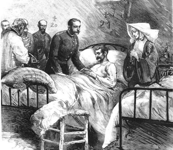 Alfonso XII visitando a los coléricos de Aranjuez en el mes de julio de 1885