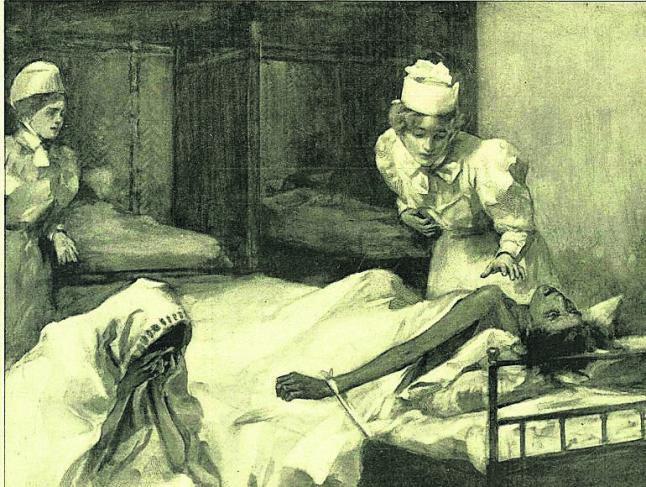Voluntarias de la Caridad, socorriendo a los enfermos de cólera en 1885