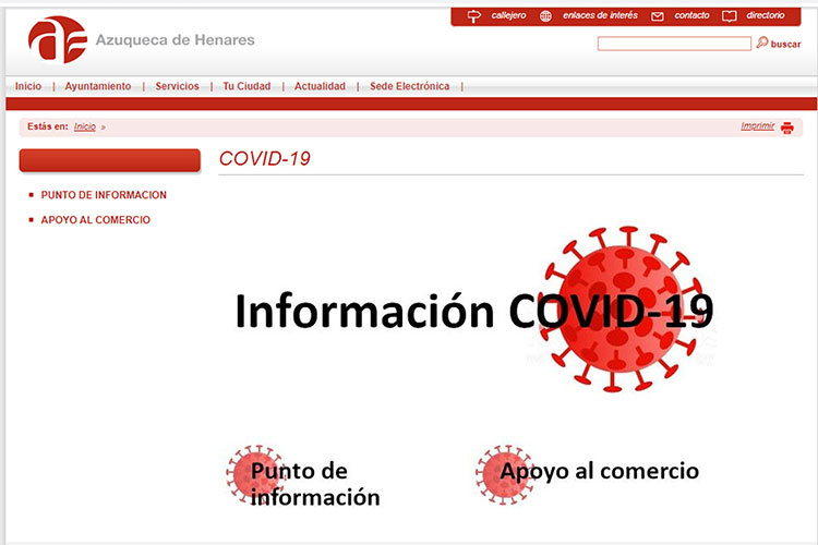 Portada del portal COVID-19 del Ayuntamiento de Azuqueca