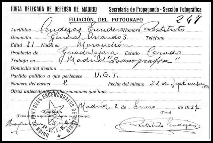 Filiación de Restituto Cendejas -1937-
