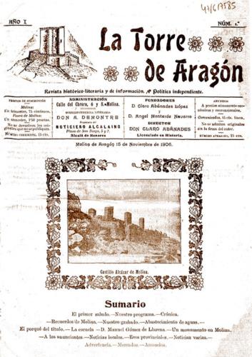 Primer número de La Torre de Aragón, el primer periódico fundado por Claro Abánades