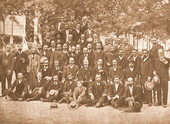 Grupo de fundadores e integrantes del Centro Alcarreño de Madrid, entre los que se contó a D. Narciso