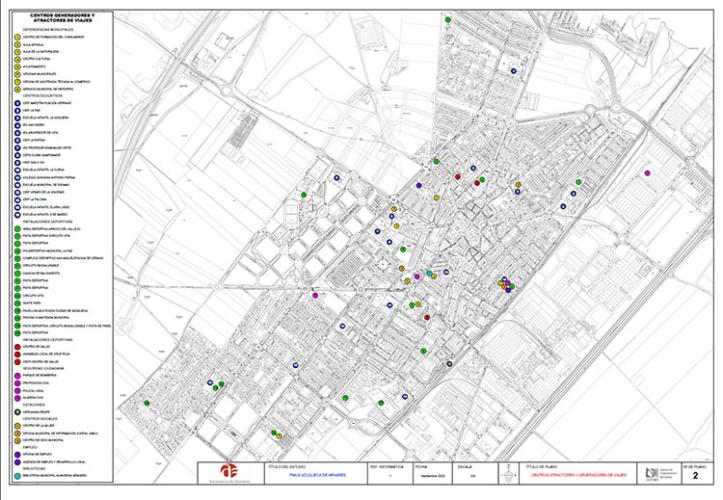 Mapa con los centros generadores y atractores de viajes en Azuqueca