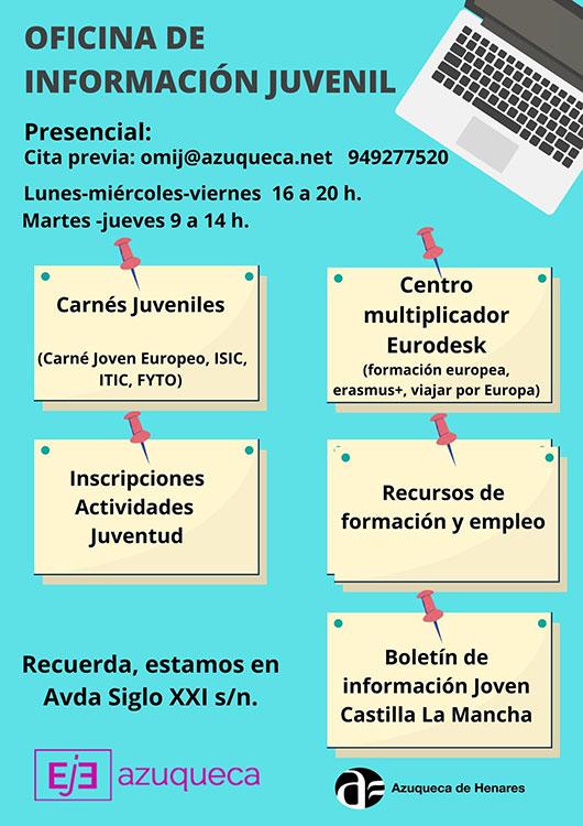 La Oficina Municipal de Información Juvenil de Azuqueca atiende de manera presencial con cita previa
