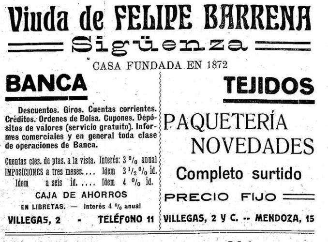 Tarjeta de presentación del comercio-banca de los hermanos Barrena en Sigüenza