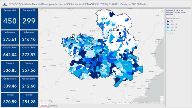 Mapa datos incidencia acumulada. Casos por 100.000 hab.