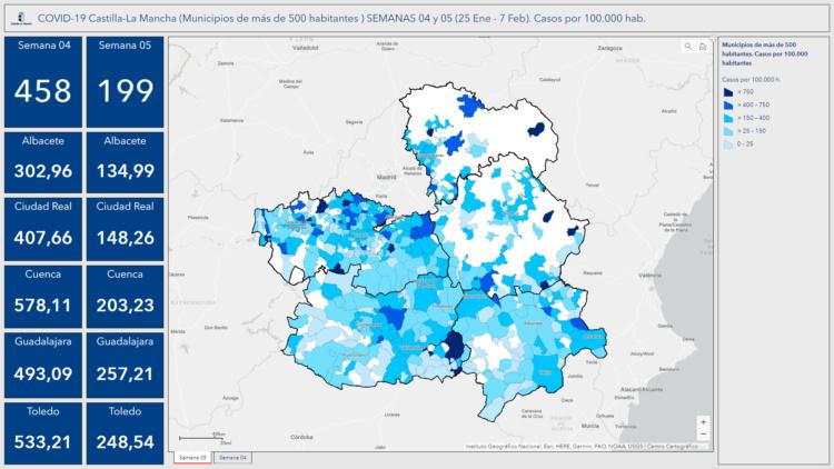 Mapa datos incidencia acumulada. Casos por 100.000 hab